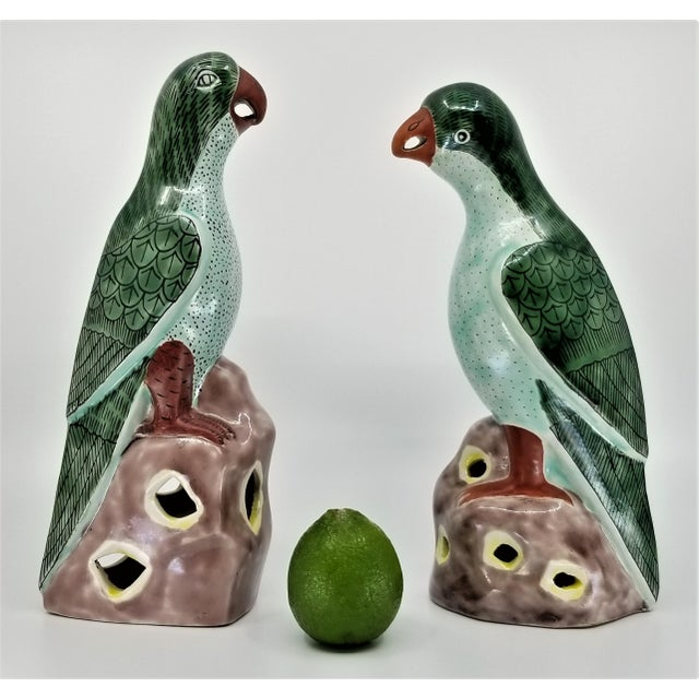 Vintage Chinese Pair of Parrots Figurines - Porcelain Ceramic Glazed Tile Totem Green Bird Animal Tropical Coastal Palm Beach Boho Chic For Sale - Image 4 of 13