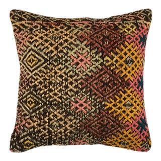 "Vibrant MidCentury Kilim Pillow | 16"" For Sale"
