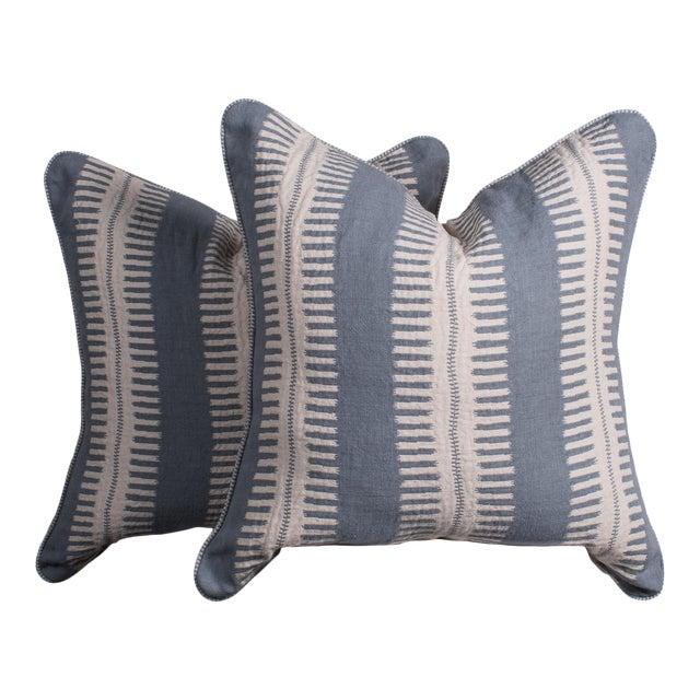 Pair of Custom Boho Striped Pillows For Sale