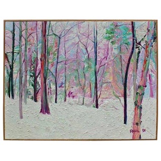 "Huge Modern ""Winter Scene"" Impasto Painting For Sale"
