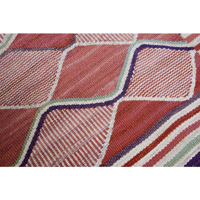 Pink Vintage Barbro Nilsson Flat-Weave Swedish Carpet for Marta Maas-Fjetterström For Sale - Image 8 of 10