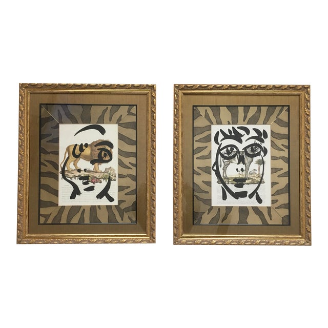 Peter Keil Abstract Framed Paintings on Paper - Set of 2 For Sale