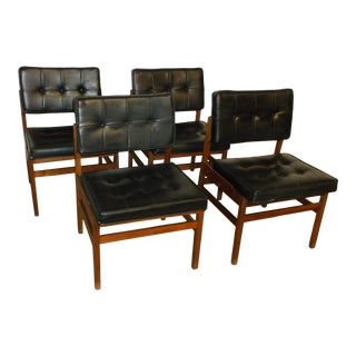 1960's Vintage Hibriten Chair Company Black Leather Chairs - Set of 4 For Sale
