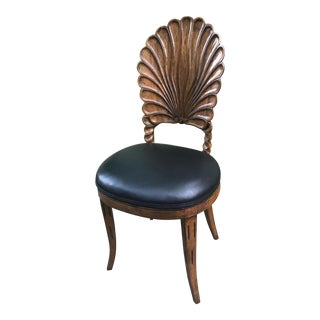 Carved Wood Vintage Shell Chair For Sale