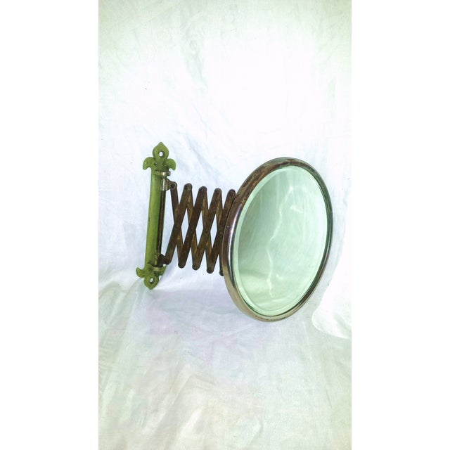 Art Deco Antique Green Accordion Shaving Mirror For Sale - Image 3 of 8