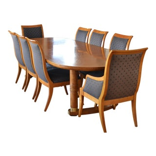 Mid-Century Modern Formal Oval Dining Table Set - 9 Pieces For Sale