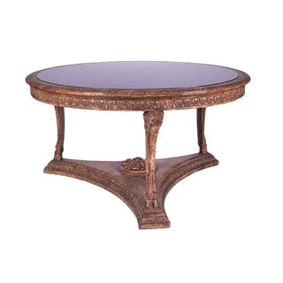 Carved Italian Rams Head Center Table W Granite Top For Sale