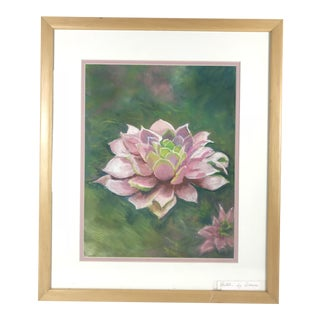 Dawn Heywood Contemporary Lotus Flower Pastel Drawing For Sale