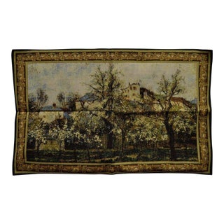 """44"""" X 29"""" French Wall Hanging Tapestry Jacquard Impressionist Landscape Pissarro"""