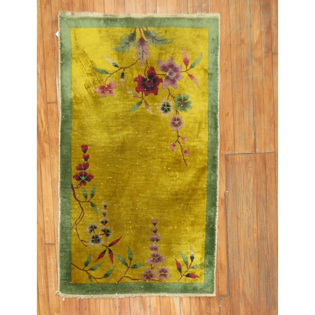 Yellow Chinese Art Deco Rug, 2'11'' X 4'9'' For Sale In New York - Image 6 of 6