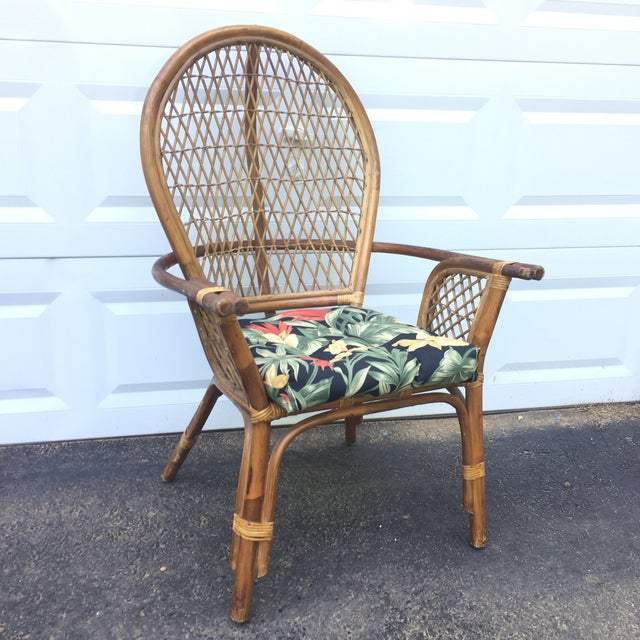 Boho Chic Vintage Modern Bamboo & Rattan High Back Chairs For Sale - Image 3 of 11