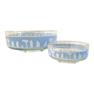 Mid-Century Blue Grecian Bowls- A Pair For Sale