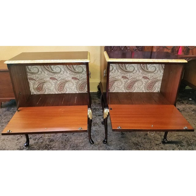 Chippendale Mahogany With Gilt Accents Side Tables / Nightstands - a Pair For Sale - Image 9 of 13
