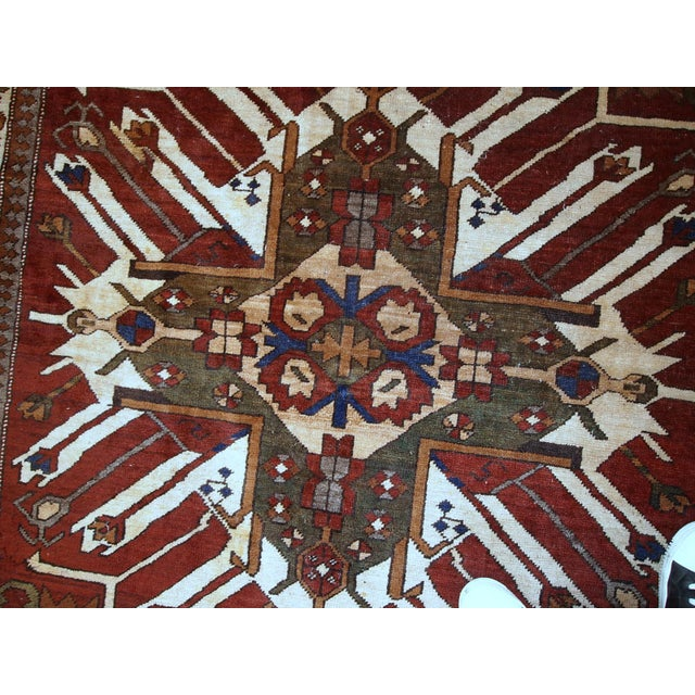 1950s, Handmade Vintage Caucasian Eagle Kazak Rug 5.8' X 8.8' For Sale In New York - Image 6 of 13