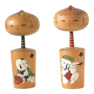 Vintage Kokeshi Doll Figurines - A Pair