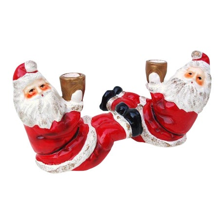 Santa Claus Candle Holders - A Pair - Image 1 of 6