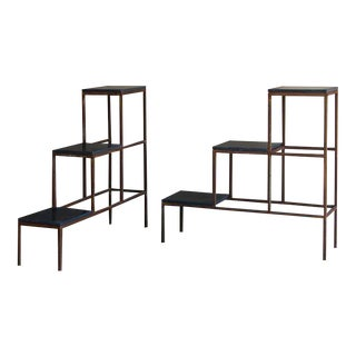 1940s Stepped Iron Display Frames with Blue Stone Shelves - a Pair For Sale