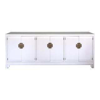 Ming Style 9-Drawer Dresser Sideboard White Satin Lacquer For Sale