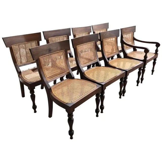 Brown Set of Eight Anglo-Indian Rosewood Regency Dining Chairs For Sale - Image 8 of 8