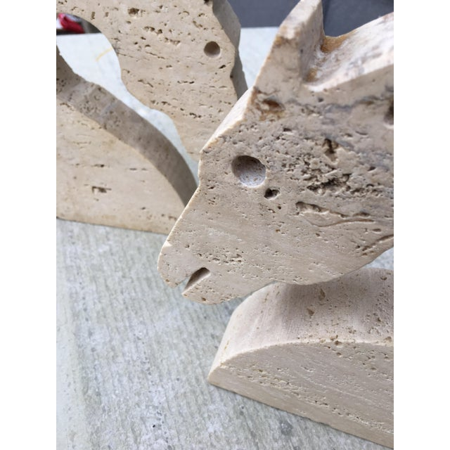 Stone Travertine Marble Horse Head Bookends by Fili Mannelli for Raymor For Sale - Image 7 of 10