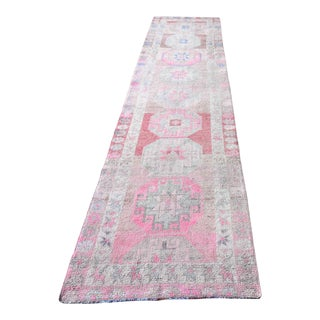 1950s Turkish Long Narrow Decorative Runner-2′9″ × 12′2″ For Sale