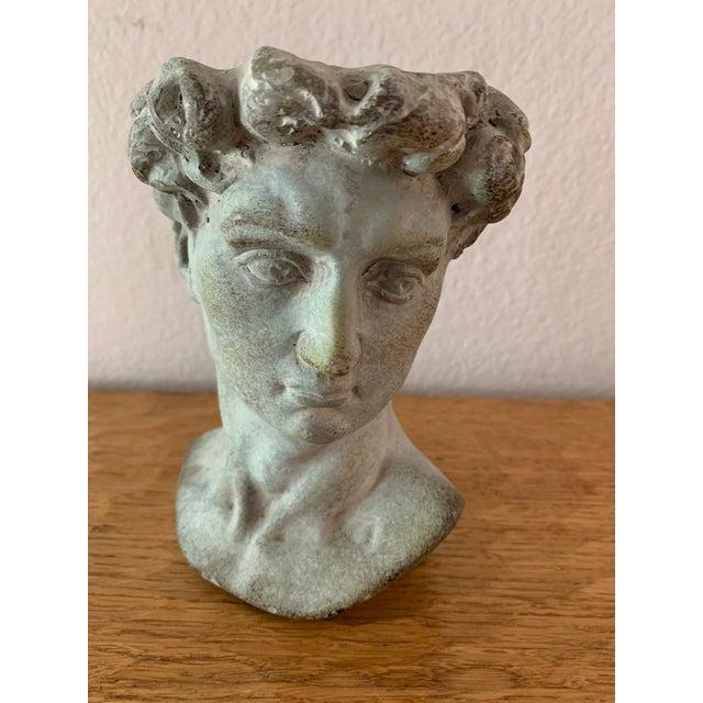 Modern Cast Composite Concrete Stone Face Planter Head Vessel Vase For Sale In Palm Springs - Image 6 of 13