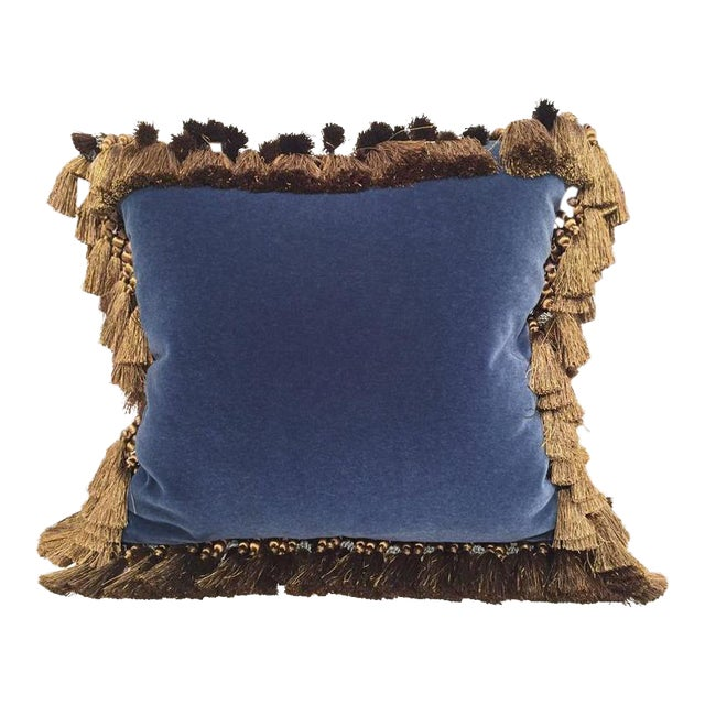 French Custom Blue Velvet Pillow Handmade With 18th Century Aubusson Tapestry, Trims and Tassels For Sale