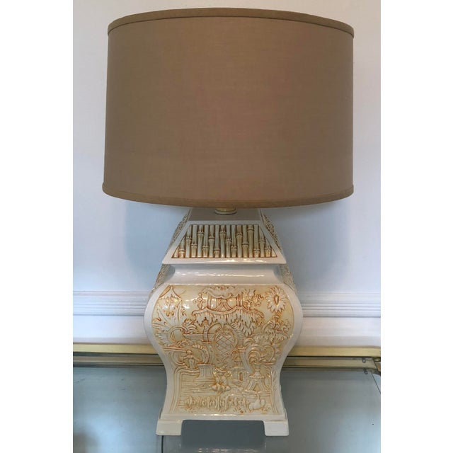 Italian Porcelain Pagoda Table Lamp With Shade For Sale - Image 6 of 9