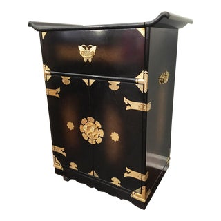 Mid Century Asian Chinoiserie Rolling Bar Cart / Server For Sale