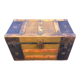 Old Wood and Metal Trunk For Sale