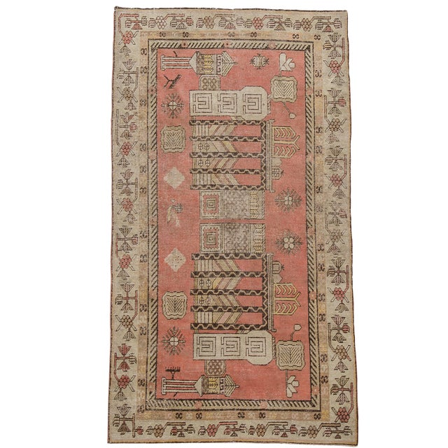 "Antique Khotan Pink Jewel Tone Hand-Knotted Rug -4'4""x 8'1"" - Image 1 of 4"