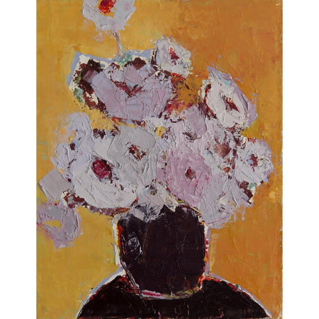 """Bill Tansey """"Brown Vase"""" Abstract Floral Oil on Canvas Painting For Sale"""