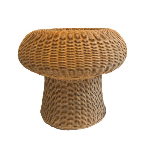 1960s 1960s Eero Aarnio Mushroom Style Wicker Ottomans - a Pair For Sale - Image 5 of 6