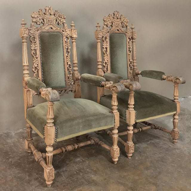 Black Forest Pair 19th Century Black Forest Stripped Oak Armchairs For Sale - Image 3 of 11