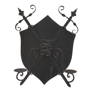 Mid-Century Cast Iron Coat of Arms Wall Hanging For Sale