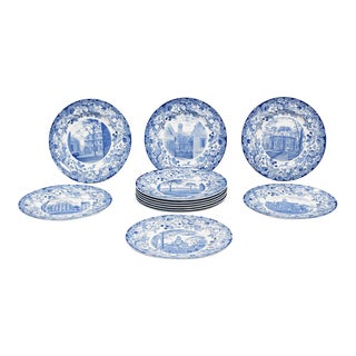 Set of 12 Harvard University Blue & White Pottery Plates by Wedgwood For Sale