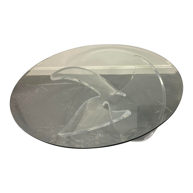 Mid Century Lucite Propeller Base With Glass Top Table For Sale