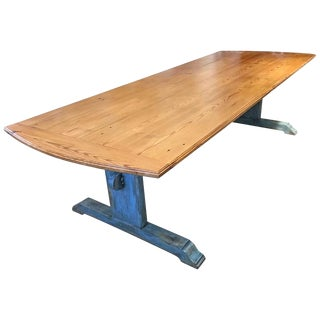 19th Century Scandinavian Farm Table With Trestle Base For Sale
