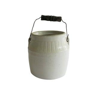 Antique White Stoneware Kitchen Jar Vase Crock With Handle For Sale