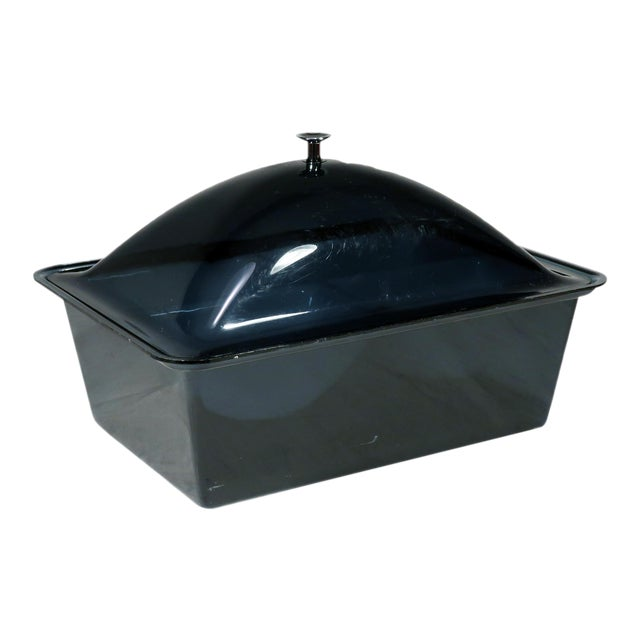 Smoked Acrylic Ice Bucket and Cold Food Server For Sale