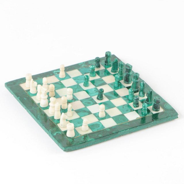 Vintage Malachite and Calcite Miniature Chess Set For Sale - Image 9 of 9