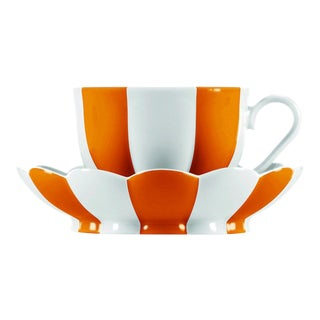 """Melon"" Mocha Cup with Saucer by Josef Hoffmann Orange For Sale"