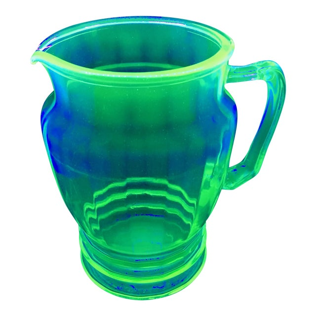 Anchor Hocking Green Uranium Glass Pitcher - Image 1 of 10