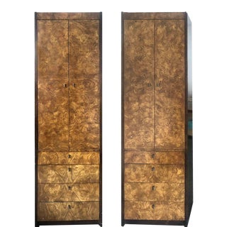 1970s Mid-Century Modern Burl Wood Chifferobes by Century Furniture - a Pair For Sale