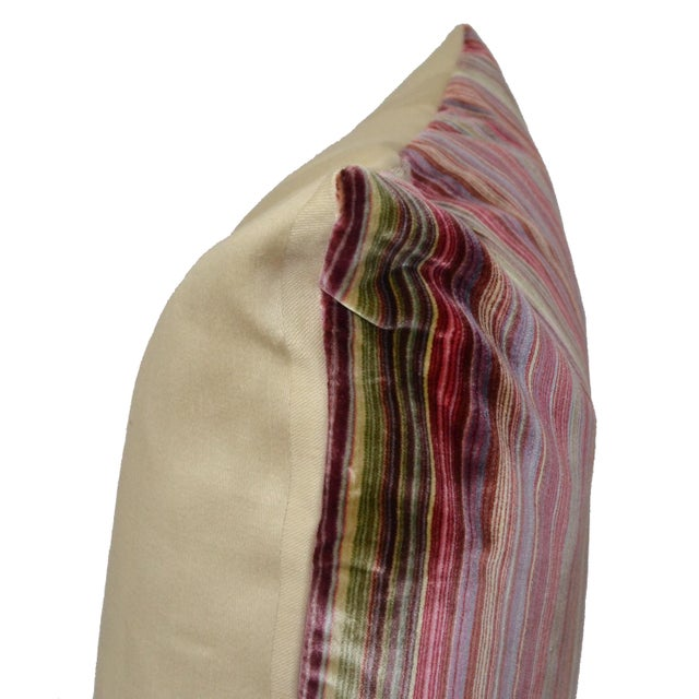 Scalamandré 100% Silk Velvet Rainbow Stripe Pillow For Sale - Image 9 of 10