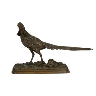 19th Century French Antique Bronze Sculpture of Golden Pheasant After Henri Trodoux For Sale