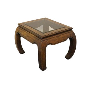 20th Century Ming Smoked Beveled Glass End/Lamp Table For Sale