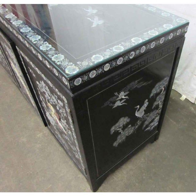 Glass Asian Sideboard With Glass Top For Sale - Image 7 of 10
