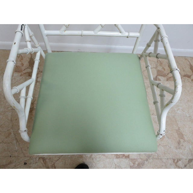 1970s Vintage Metal Faux Bamboo Arm Chair For Sale - Image 5 of 10