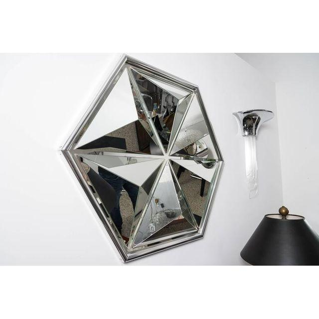 Transparent Polished Chrome Polygon Shaped Wall Mirror For Sale - Image 8 of 10